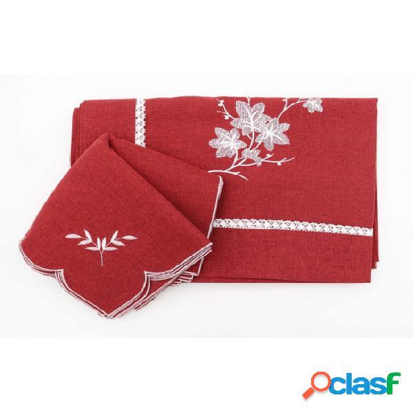Servizio da tavola ricamato disegno foglie e rifinito con merletto artigianale: rxh5486-1.. colore bordeaux, tessuto poliestere