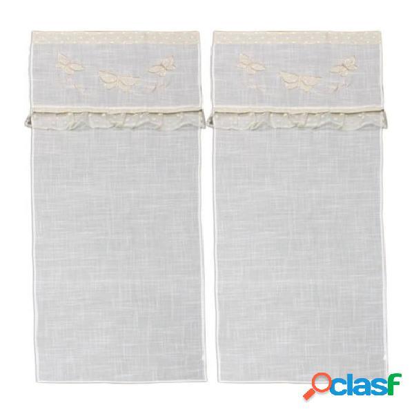 Coppia di tende per interno con ricamo - 152373.. colore bianco, tessuto poliestere, misura 60x240 cm