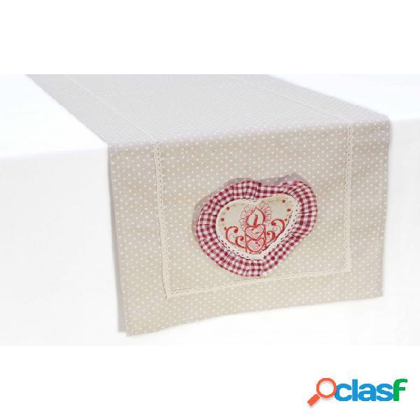 Runner tavola natalizio in tela greggia con ricamo e applicazioni: sd165753. set 3pz. colore beige, tessuto cotone, misura 40x140 cm