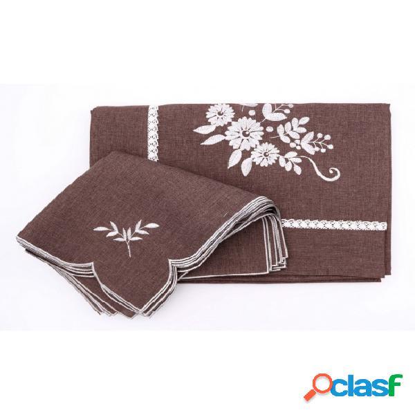 Servizio da tavola ricamato motivo floreale e rifinito con merletto artigianale: rxh5487.. tessuto poliestere, colore marrone