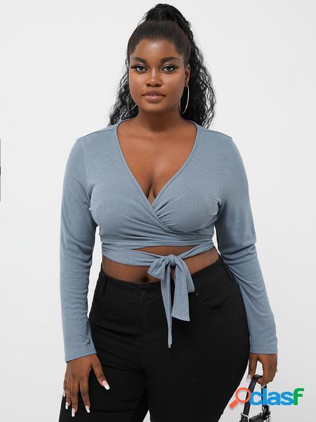Yoins plus taglia deep v collo t-shirt a maniche lunghe con design avvolgente