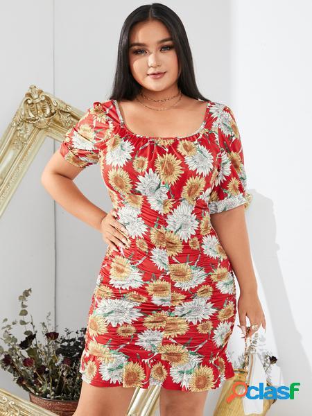 Yoins plus taglia quadrato collo mini abito dal design pieghettato con stampa floreale