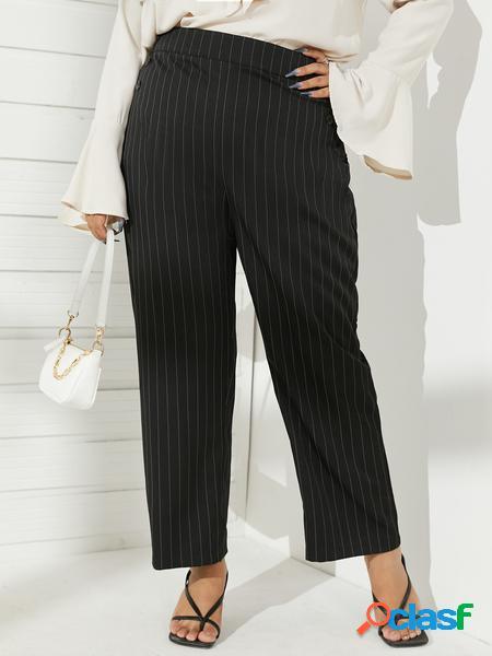 Yoins plus taglia navy striped pantaloni