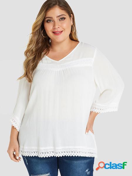 Yoins plus taglia white lace trim scollo a v 3/4 lunghezza t-shirt con maniche