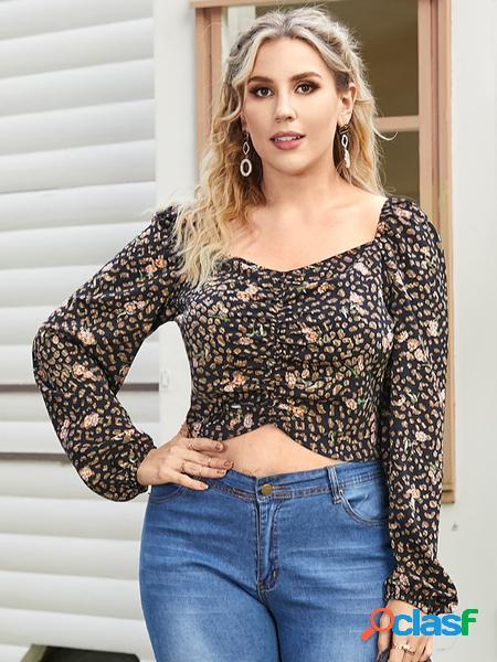 Yoins plus taglia quadrato collo camicetta a maniche lunghe arricciata con design leopardato senza schienale
