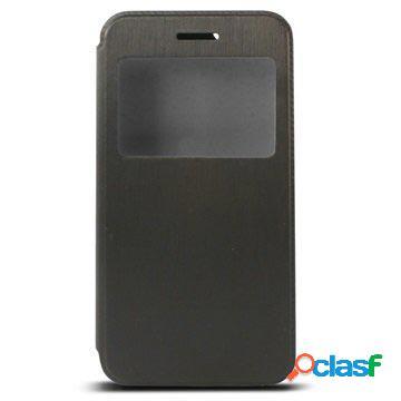 Custodia a portafoglio ksix window standing per iphone 6 plus / 6s plus - nero