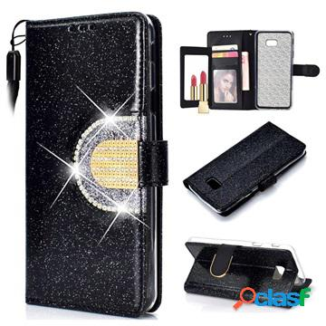 Custodia a portafoglio glitter per samsung galaxy j4+ - nera