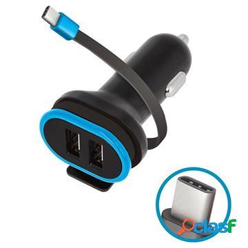 Caricabatterie da auto con cavo usb-c e 2x usb ports forever cc-02 - 3a