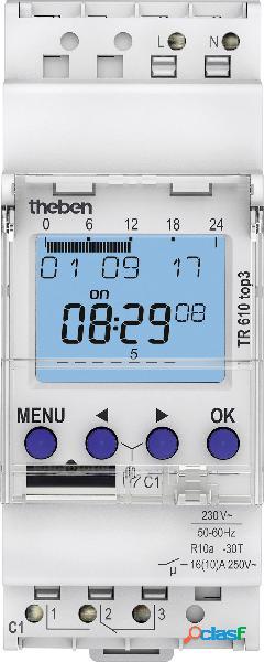 Theben temporizzatore per guida din tensione di funzionamento: 230 v/ac tr610 top3 1 scambio 16 a 250 v/ac programma settimanale