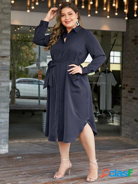 Yoins plus taglia navy classic abito a maniche lunghe con colletto
