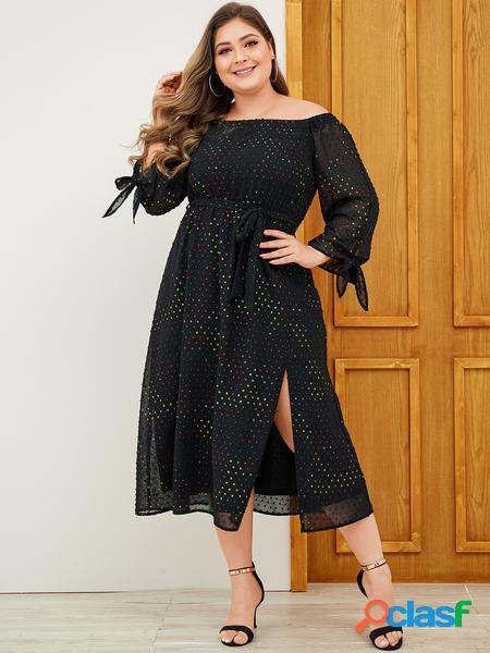 Yoins plus taglia black abito con spalline con design a fessura