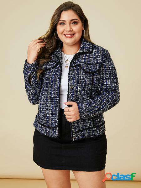 Yoins plus taglia navy plaid classic giacca con colletto