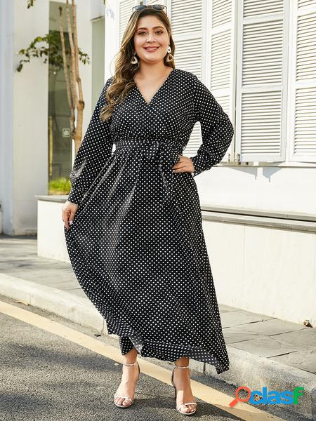 Yoins plus taglia black cintura abito a pois di design