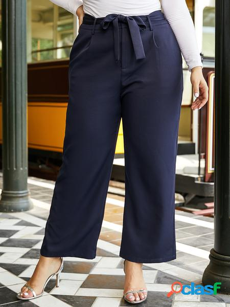 Yoins plus taglia navy tasche laterali a vita media pantaloni