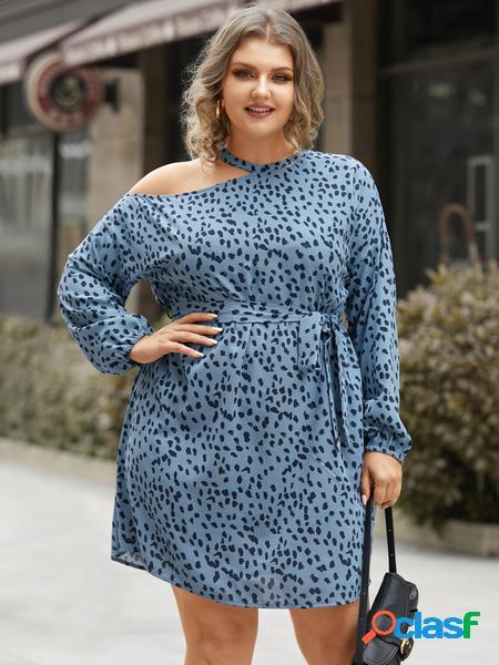 Yoins plus taglia polka dot cut out cintura mini abito a maniche lunghe di design