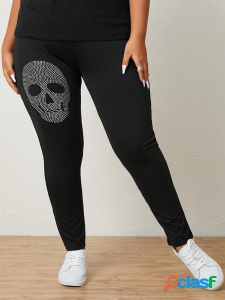 Yoins plus taglia halloween skull graphic pantaloni