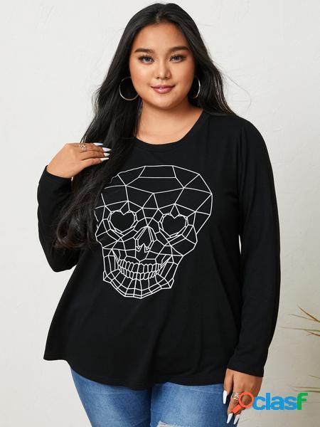 Yoins plus taglia halloween skull crew collo t-shirt a maniche lunghe con grafica