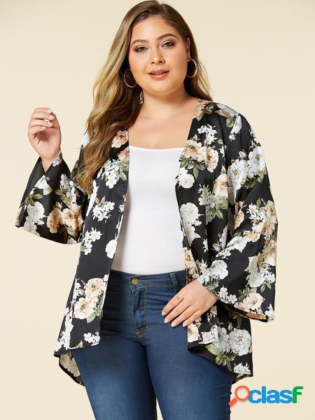 Yoins plus taglia black kimono a maniche lunghe con stampa floreale casuale