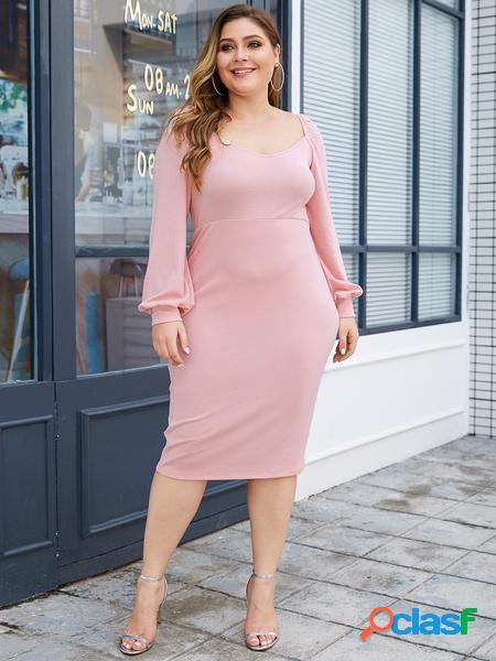 Yoins plus taglia rosa design quadrato senza schienale collo abito a maniche lunghe