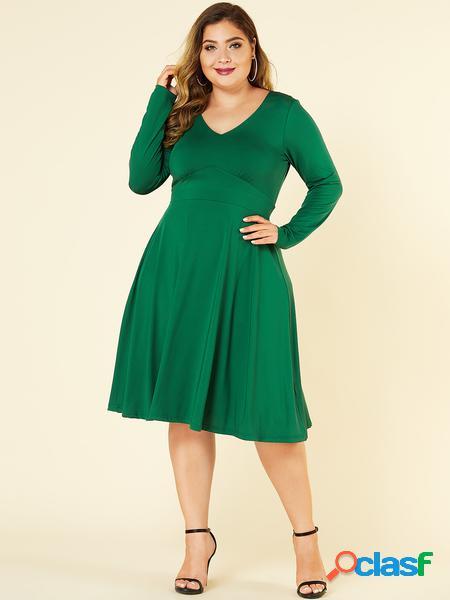 Yoins plus taglia verde con abito a maniche lunghe con scollo a v cintura