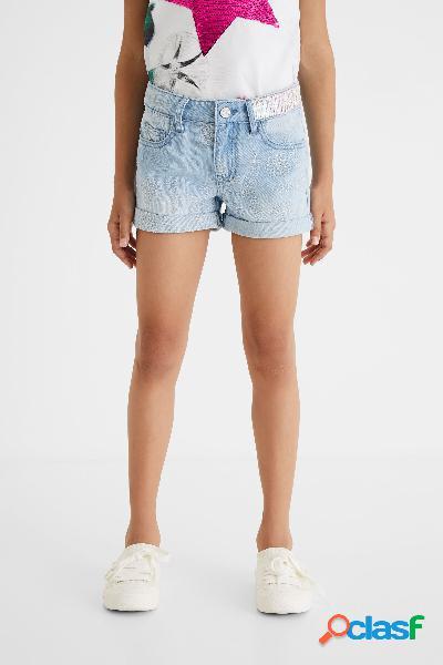 Jeans corti con ricamo svizzero - blue - 7/8