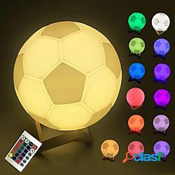 Luce notturna a led telecomando touch 16 colori modificabili stampa 3d design da calcio lampada da tavolo a led lampada da notte per bambini regali lightinthebox