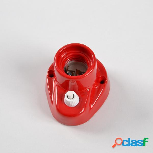 Punto luce curvo da parete con interruttore in porcellana attacco e27 rosso