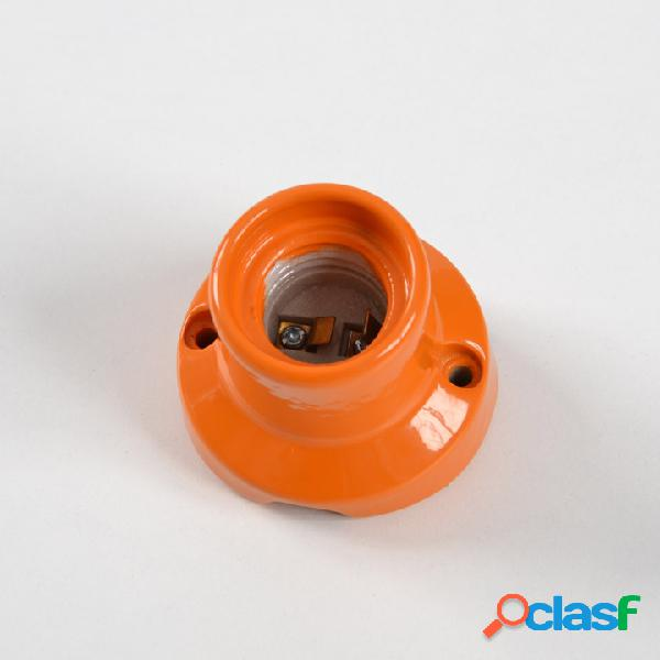 Punto luce curvo da parete in porcellana attacco lampadina e27 arancione
