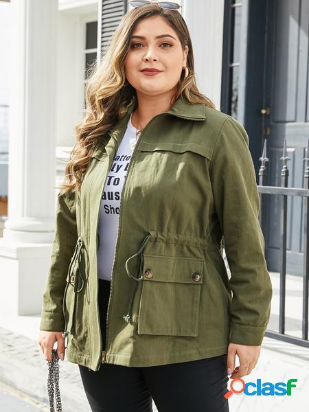 Yoins plus taglia army green zip classic giacca con coulisse in vita sul colletto