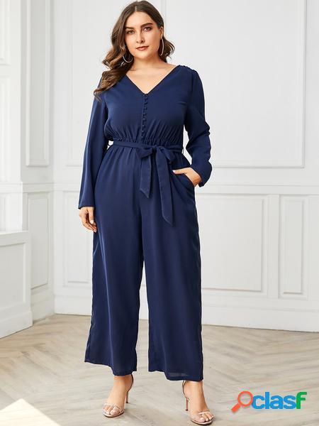 Yoins plus taglia navy cintura tuta a maniche lunghe con scollo a v di design