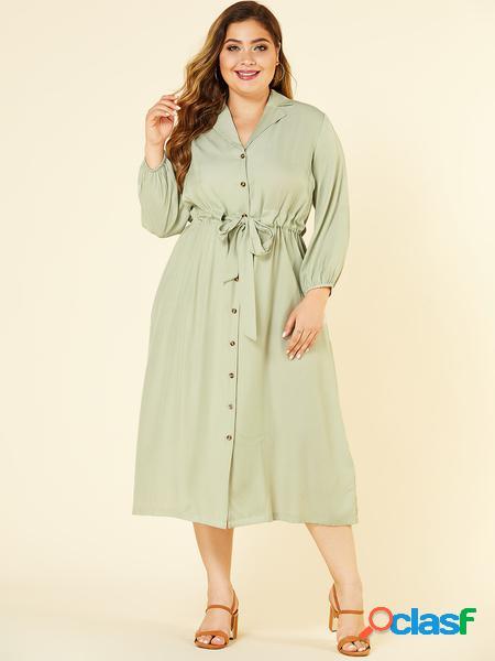 Yoins plus taglia verde chiaro classic abito con colletto cintura