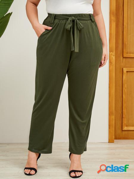 Yoins plus taglia verde militare cintura design pantaloni