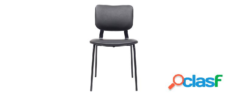 Sedie vintage nere con piedi in metallo (set di 2) lab