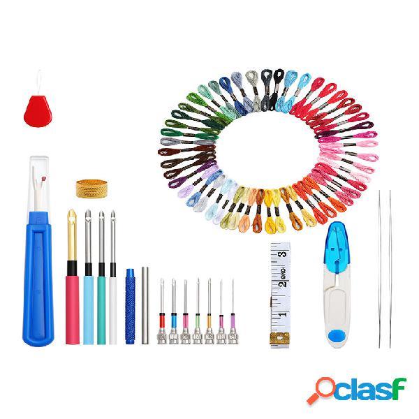 Un set di magia ricamo penna punzone ago kit mestiere punto croce filo ricamo telaio fai da te accessorio per cucire str