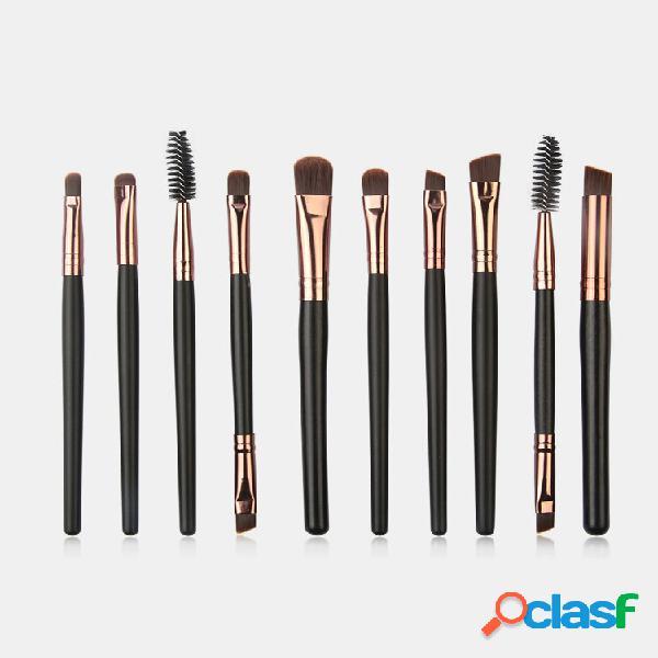 10 pezzi trucco spazzole set ombretto in legno ciglio eye trucco pennello kit attrezzi