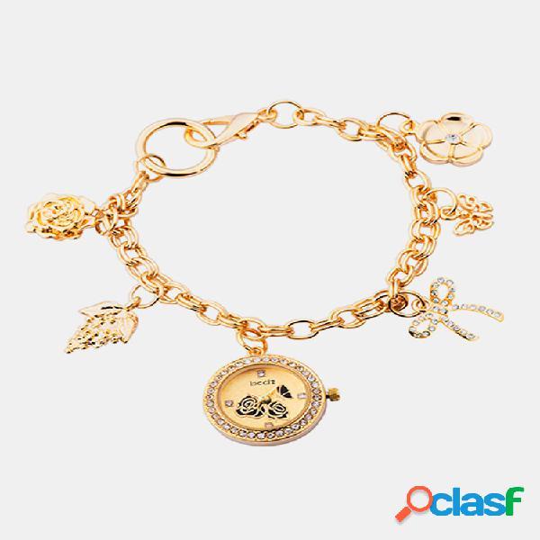 Orologio da polso da donna retrò alla moda bracciale al quarzo con foglie di fiori super leggeri watch