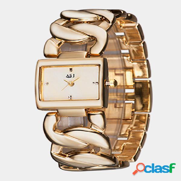 Orologio da polso da donna semplice alla moda in acciaio cavo banda bracciale al quarzo con quadrante quadrato watch