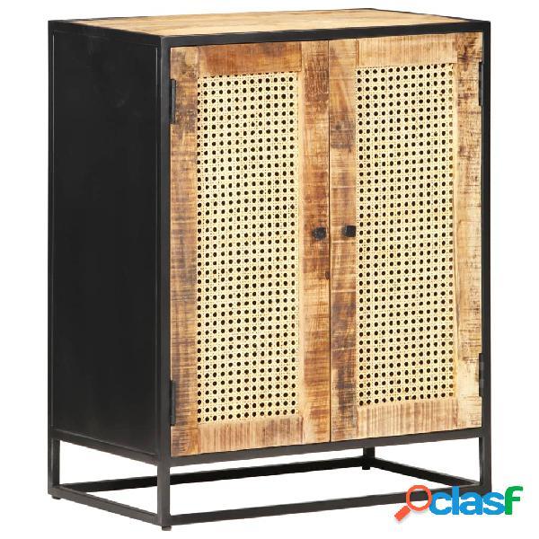 Vidaxl credenza 60x35x75 cm in legno di mango grezzo e canna naturale