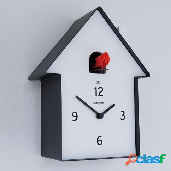Orologio cucu in legno casa 19.5 x 11 x h26 cassa in metallo verniciato nero