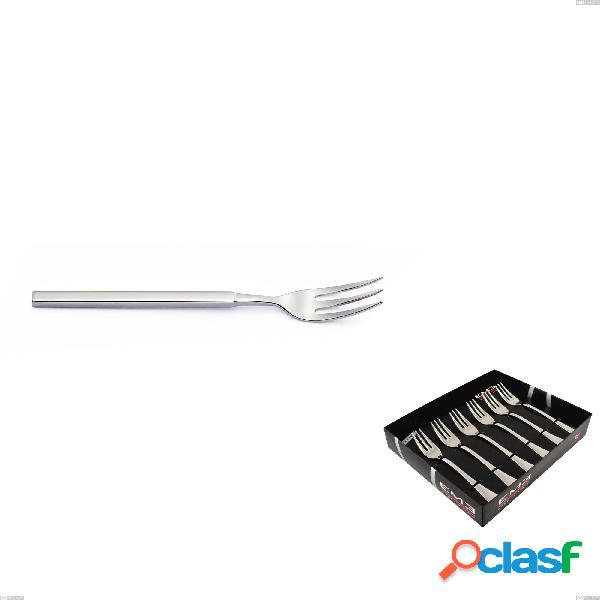 Confezione vetrina 6 pezzi forchettine dolce zeus inox, acciaio forgiato lucido 18/10 (aisi 304)