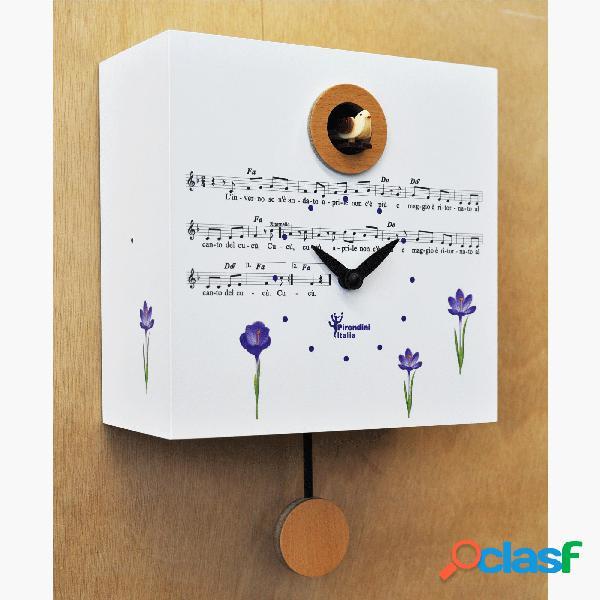 Orologio cucù da parete primavera 20,5x10xh20,5 cm cassa in mdf colore bianco
