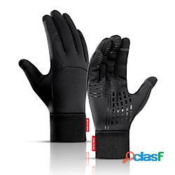 Inverno guanti da ciclismo guanti touch ompermeabile antivento tenere al caldo antiscivolo dita intere guanti sport pile nero per per adulto ciclismo / bicicletta lightinthebox