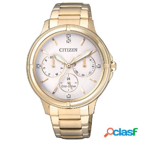 Orologio citizen cronografo in acciaio dorato eco drive - lady - fd2032-55a