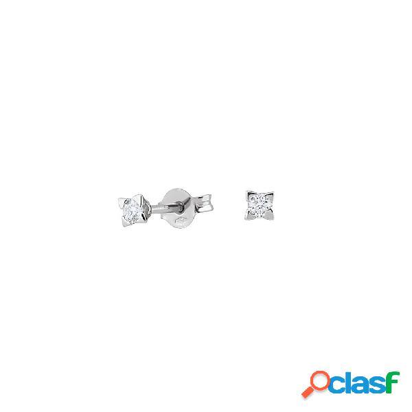 Orecchini punto luce artlinea in oro bianco con diamanti - od032-lb