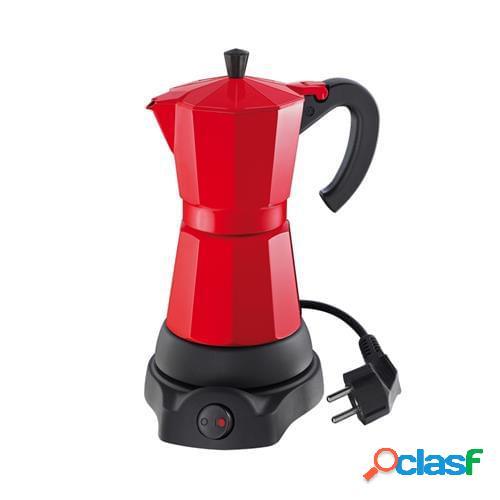 Caffettiera espresso elettrica classico per 6 tazze, rosso