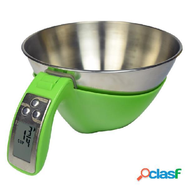 Bilancia da cucina ciotola in inox display lcd portata 5 kg l 110 mm x diametro 210 mm x h 115 mm