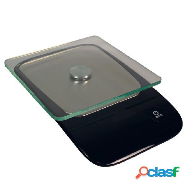 Bilancia da cucina schermo led portata 5 kg vassoio di cristallo l 210 mm x p 135 mm x h 410 mm