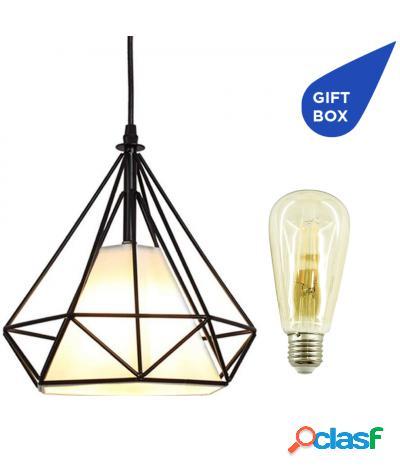 Design   lampadario + 2 lampadine nero