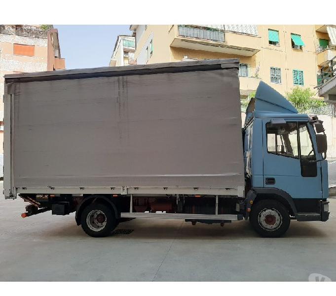 Iveco 80e21 anno 2001 cassone centina e telone con sponda roma - vendita camion usati