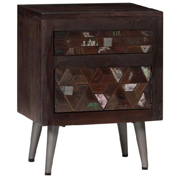 Vidaxl comodino in legno massello di recupero 40x30x50 cm